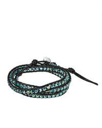 Aeravida - Multicolor Green Muse Crystal Tribal Wrap Leather Bracelet - Lyst