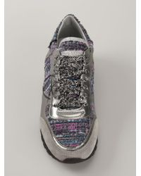 Philippe Model - Gray Metallic Woven Lace-up Sneakers - Lyst