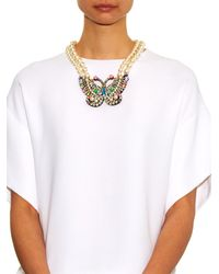 Shourouk - Multicolor Butterfly Crystal And Pearl Necklace - Lyst