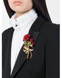 Dolce & Gabbana | Metallic Rose Bouquet Brooch | Lyst