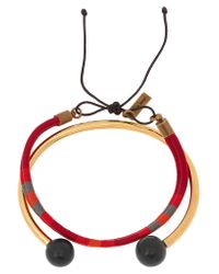 Isabel Marant | Red Set Of Two Gold-plated, Cotton And Bead Bracelets | Lyst