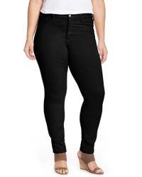 NYDJ   Black 'alina' Colored Stretch Skinny Jeans   Lyst