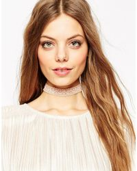 ASOS | Pink Lace Choker Necklace | Lyst