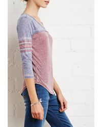 Forever 21 - Blue Striped-sleeve Burnout Top - Lyst