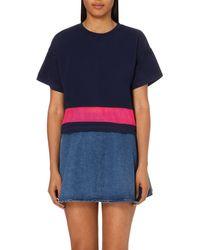 5cm | Blue Mesh-panel Stretch-jersey T-shirt | Lyst