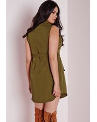 Missguided - Natural Plus Size Pocket Button Front Dress Khaki - Lyst