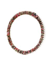 Alyssa Norton | Multicolor Red And Pink Fabric Wrapped Bangle With Tiny Round Rhinestones | Lyst
