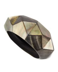 Viktoria Hayman - Black Pyramid Mother-of-pearl Bangle - Lyst