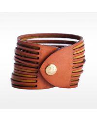 Linea Pelle | Brown Two Tone Sliced Bracelet | Lyst