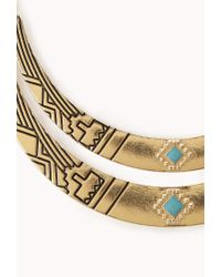 Forever 21 - Metallic Globetrotter Curved Bib Necklace - Lyst