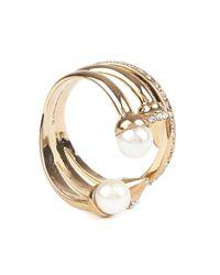 Vita Fede | Metallic Ultra Mini Tre Pearl Rose Gold-plated Ring | Lyst