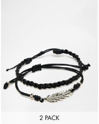 ASOS | Leather Bracelet Pack With Feather - Black for Men | Lyst