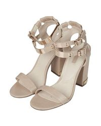 TOPSHOP - Natural Rodeo Double Strap Sandals - Lyst
