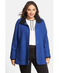 Halogen | Blue Front Zip Stand Collar Coat | Lyst
