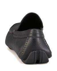 Ferragamo | Blue Pacifico Pebbled Leather Driver Black for Men | Lyst