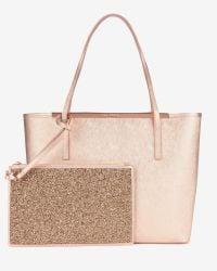Ted Baker | Pink Jasmena Metallic Tote | Lyst