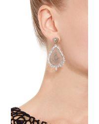 Nina Runsdorf Metallic 18k White Gold Slice Diamond Pear Shape Earrings