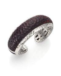 John Hardy | Purple Palu Rose Wood  Sterling Silver Cuff Bracelet | Lyst