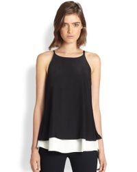 Elizabeth and James | Black Fern Silk Double Tiered Tank | Lyst