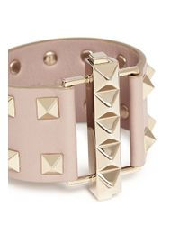 Valentino | Natural 'rockstud' Bar Clasp Wide Leather Bracelet | Lyst
