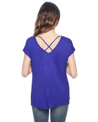 Splendid | Blue Midnight Jersey Cross Back Tee | Lyst