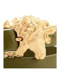 Valentino - Green Unicorn Leather Wrap Bracelet - Lyst