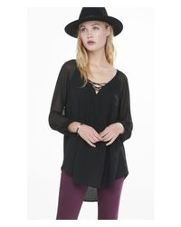 Express | Black Chiffon Raglan Sleeve Lace-up Tunic Blouse | Lyst