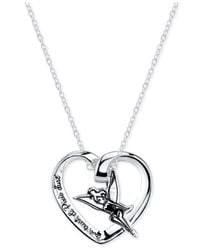 Disney - Metallic Engraved Tinker Bell Pendant Necklace In Sterling Silver - Lyst