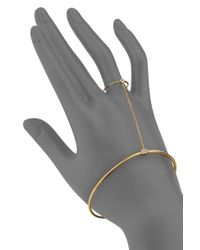 Gorjana - Metallic White Stone & 18k Goldplated Attached Bracelet & Ring - Lyst