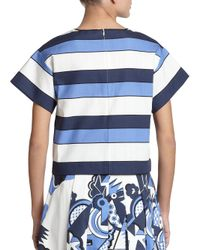 Piazza Sempione - Blue Striped Boxy Top - Lyst