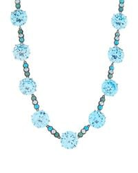 Bottega Veneta - Blue Zirconia And Oxidised-Silver Necklace - Lyst