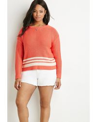 Forever 21 | Pink Plus Size Contrast-striped Sweater | Lyst