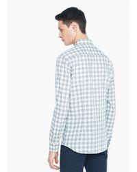 Mango - Gray Slim-fit Gingham Check Shirt for Men - Lyst