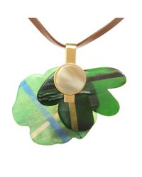 Marni | Green Embellished Leather Necklace | Lyst