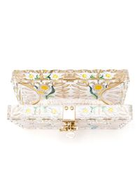 Dolce & Gabbana | Metallic Perspex Clutch With Hand Painted Florals | Lyst