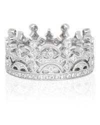 Kojis - White Gold Diamond Crown Ring - Lyst