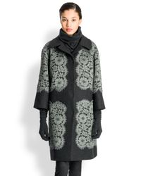 Dolce & Gabbana Gray Lace Applique Coat