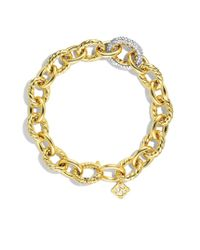 David Yurman | Metallic Oval Large Link Bracelet with Diamonds in Gold | Lyst