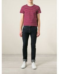 Maison Kitsuné - Red Striped T-Shirt for Men - Lyst