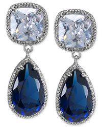 Carolee | Blue Uptown Girl Cushion Drop Earrings | Lyst