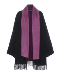 Ferragamo | Black Cashmere Cape With Scarf | Lyst