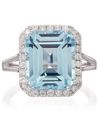 Kojis - Blue White Gold Aquamarine Diamond Ring - Lyst