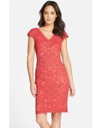 Tadashi Shoji - Red Corded Lace Tulle Sheath Dress - Lyst