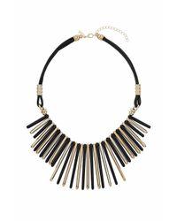 TOPSHOP - Black Resin Spike Drop Necklace - Lyst