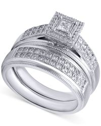 Beautiful Beginnings - Metallic Diamond Engagement Ring And Wedding Band (1/3 Ct. T.w.) In Sterling Silver - Lyst
