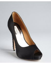 Badgley Mischka - Black Satin Crystal and Chain Embellished Vixen Pumps - Lyst