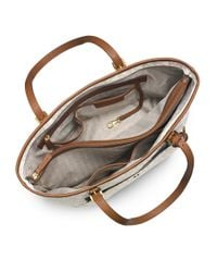 MICHAEL Michael Kors | White Jet Set Monogram Large Snap Pocket Tote Bag | Lyst