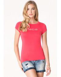 Bebe | Pink Logo Basic Rhinestone Tee | Lyst