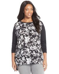 Sejour   Black Print Front Mixed Media Tee   Lyst