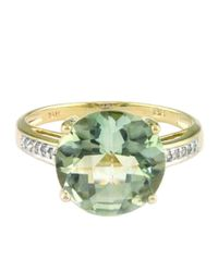 Effy | 14kt. Gold Green Amethyst Ring With Diamond Accents | Lyst